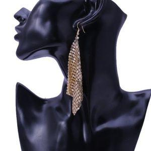Metal Mesh Sequins Tassel Dangle Earrings Gold.